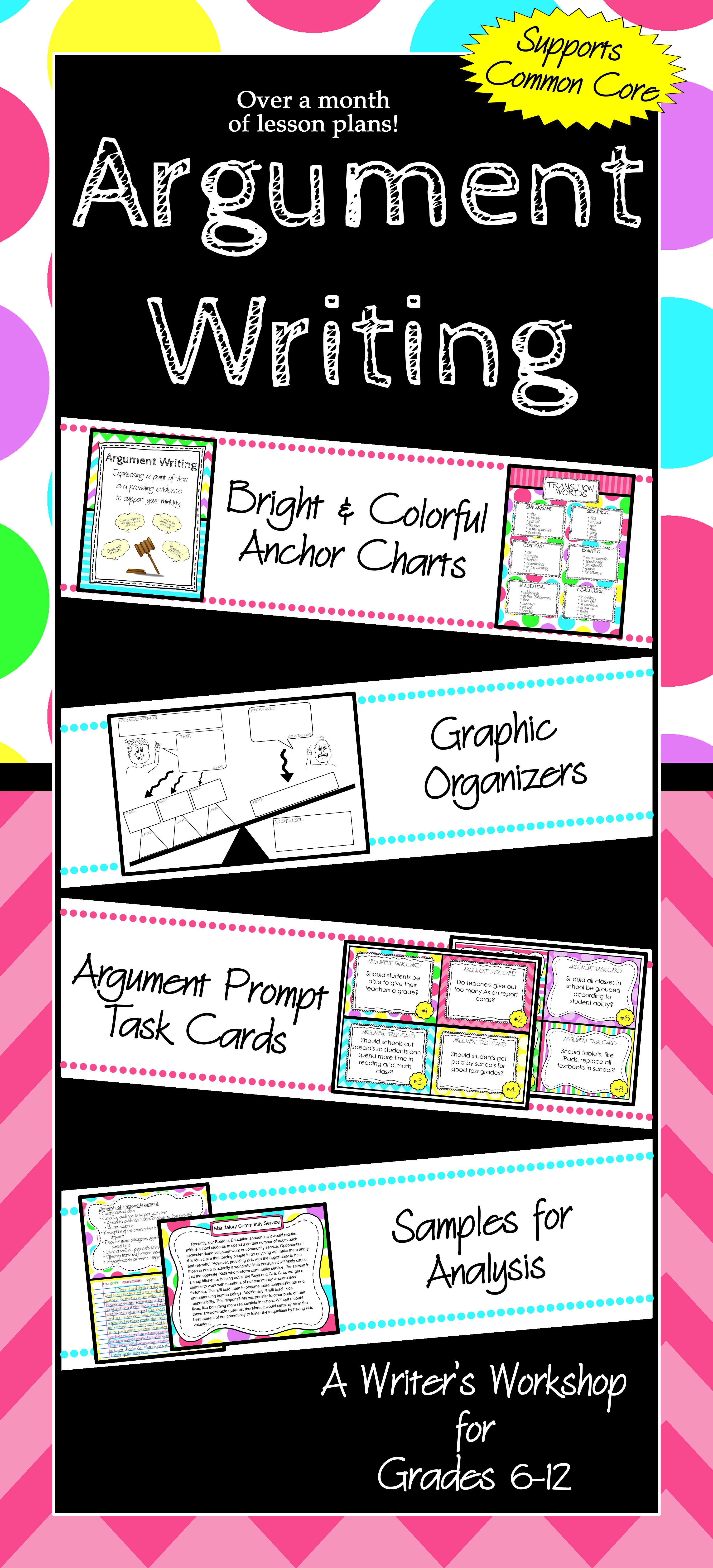 Argument Writing Unit For Middle School