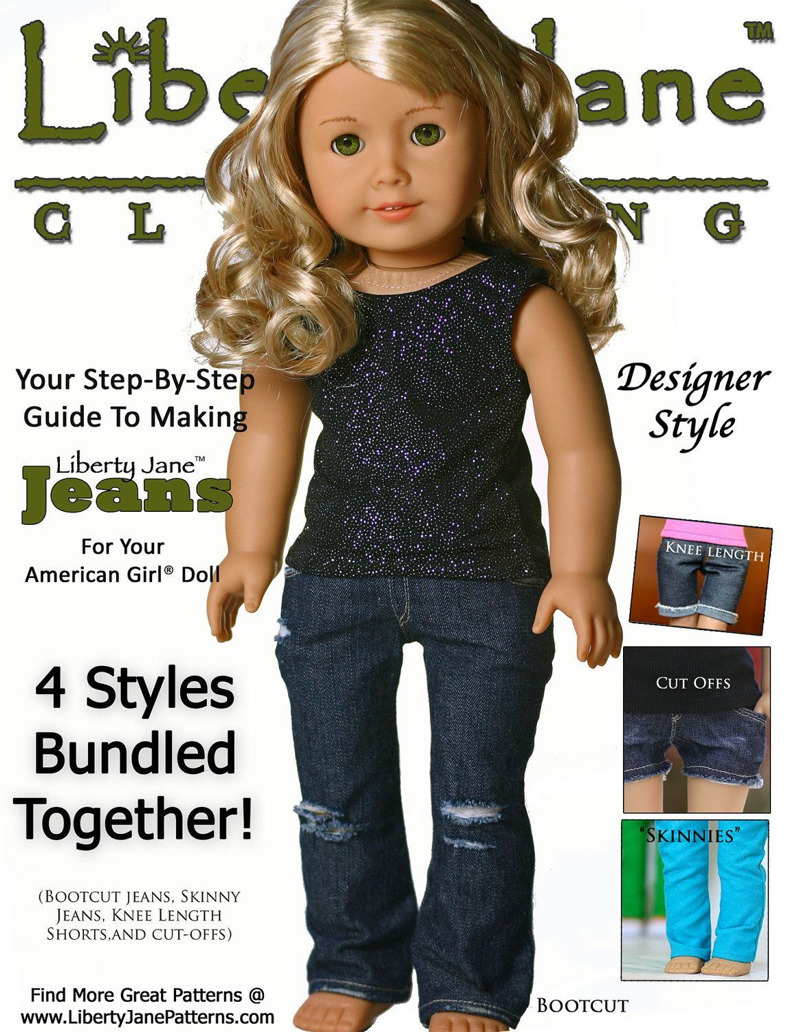 Pixie Faire Liberty Jane Jeans Doll Clothes Pattern for 18 inch ...