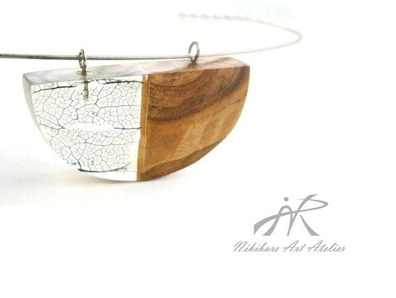 Modernist necklace exotic burl wood and resin by NikibarsNatureArt