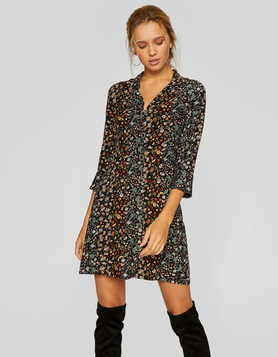 información para chic clásico precios baratass Short printed dress - Dresses | Stradivarius United Kingdom ...