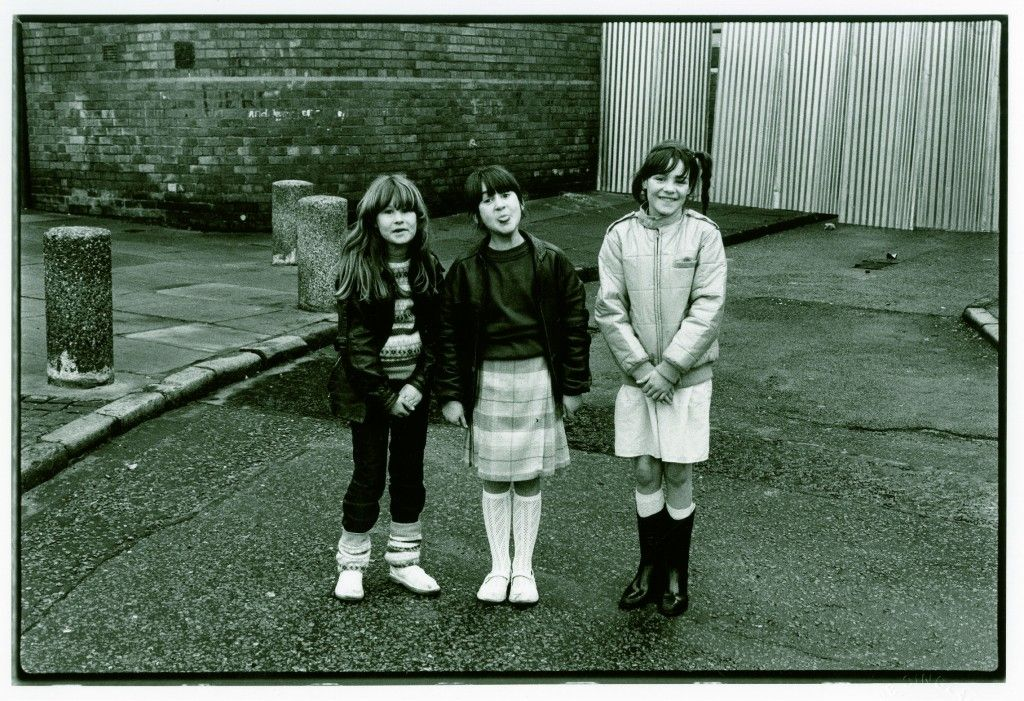 Three girls in Ashfield Gardens, Vauxhall. 1980's Liverpool