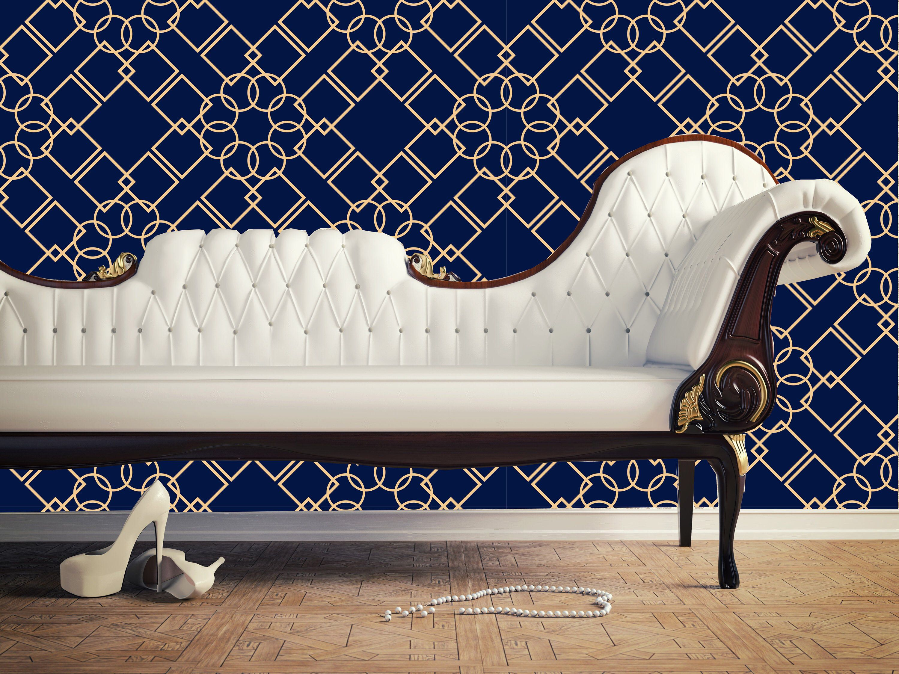 Modern Navy Blue Geometric Removable Wallpaper, Peel and