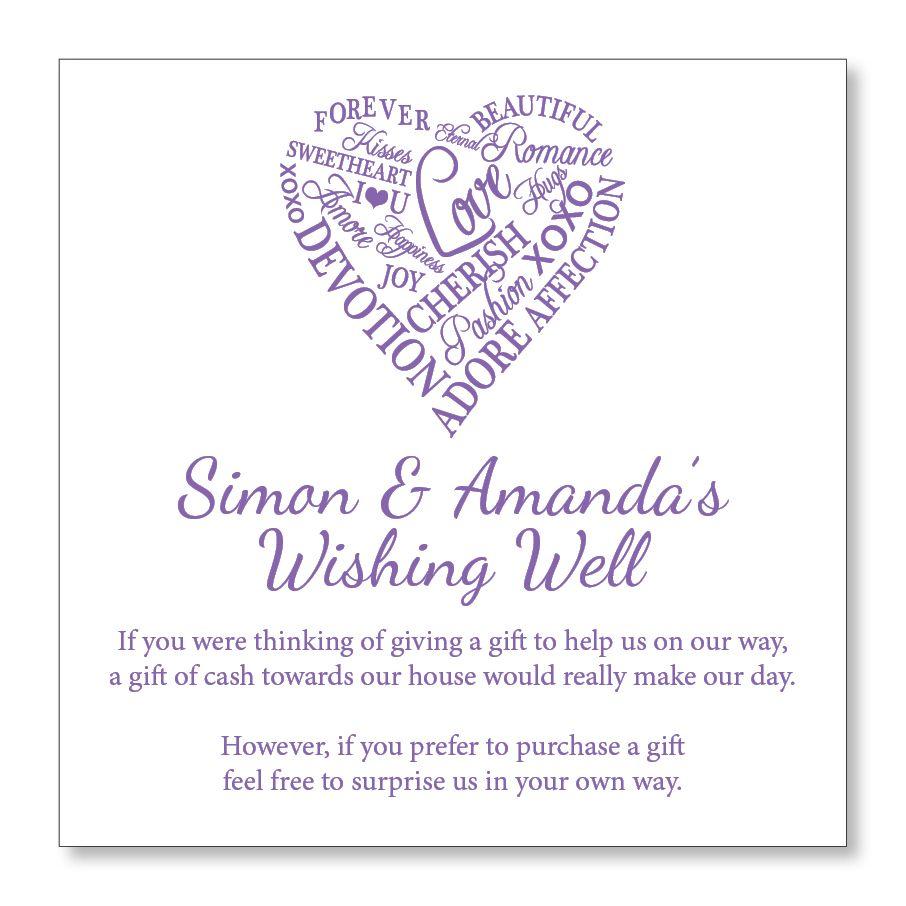 Words of Love Wedding Wishing Well or Gift Registry Cards - Custom ...