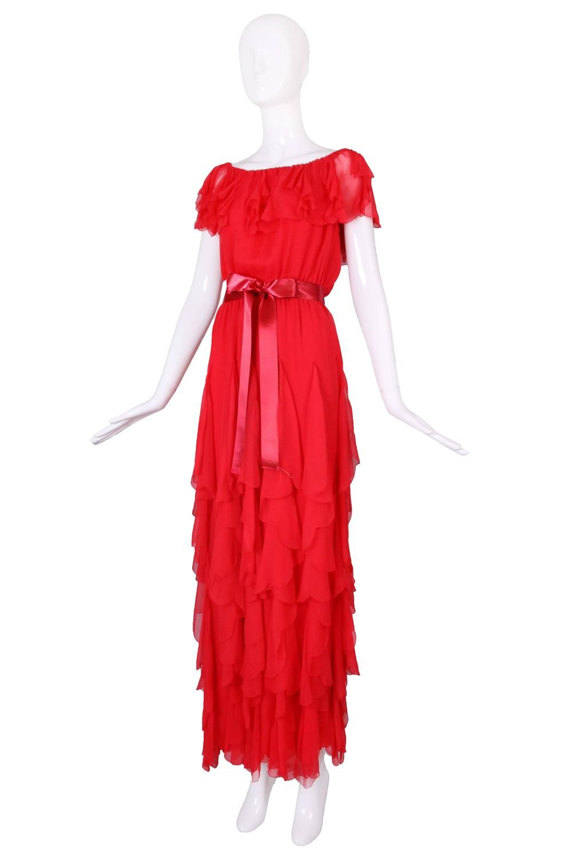 e9839820649f Vintage Yves Saint Laurent YSL Red Silk Chiffon Ruffled Evening Gown Dress 2