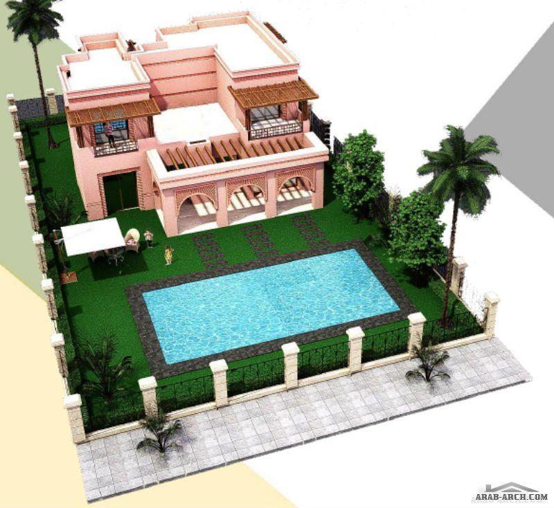 فيلا مقامة على مساحة ارض 400 متر مربع وبمساحة بناء تعادل 237 متر مربع بعدد 4 غرف نوم Fantasy House Square House Plans Dream Home Design