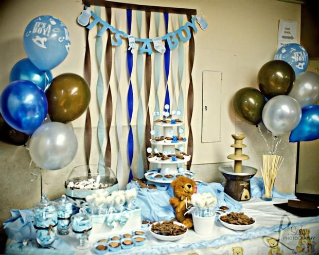Hostess with the Mostess® - Teddy Bear , brown and blue Baby Shower