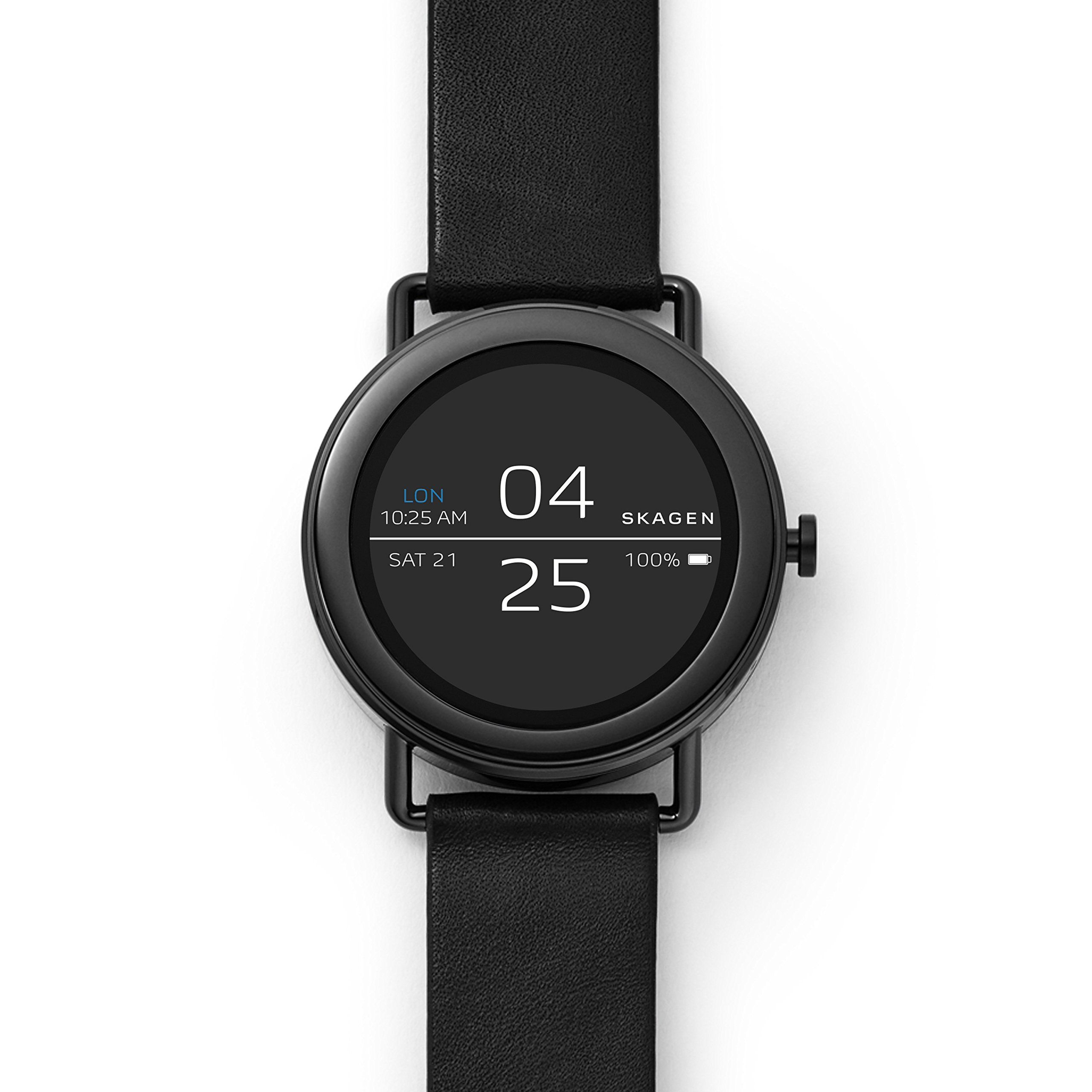 Skagen Connected Falster 1 Stainless Steel And Leather Touchscreen Smartwatch Color Black Model Skt5001 For More Infor Leather Straps Leather Smart Watch