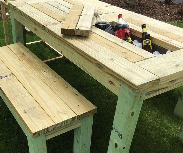 Set Of 6 Person Patio Picnic Table With Drink Coolers And Two 2 Seat Benches Long Made From Pressurse Treated Lumber