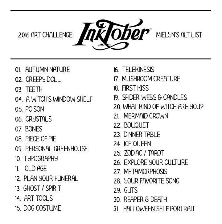 Inktober Prompts Tumblr Arty Things Pinterest Sketchbook