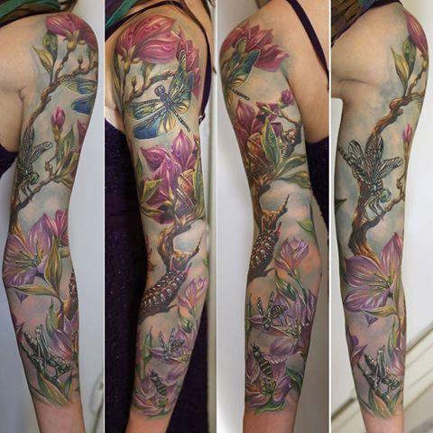 Sleeve Tattoo Dragonflies Fairies 8531 Santa Monica Blvd West Hollywood Ca 90069 Cal Floral Tattoo Sleeve Sleeve Tattoos For Women Nature Tattoo Sleeve