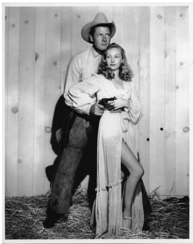Still of Veronica Lake and Joel McCrea's film Ramrod 1947, directed by  Lake's husband Are DeToth.