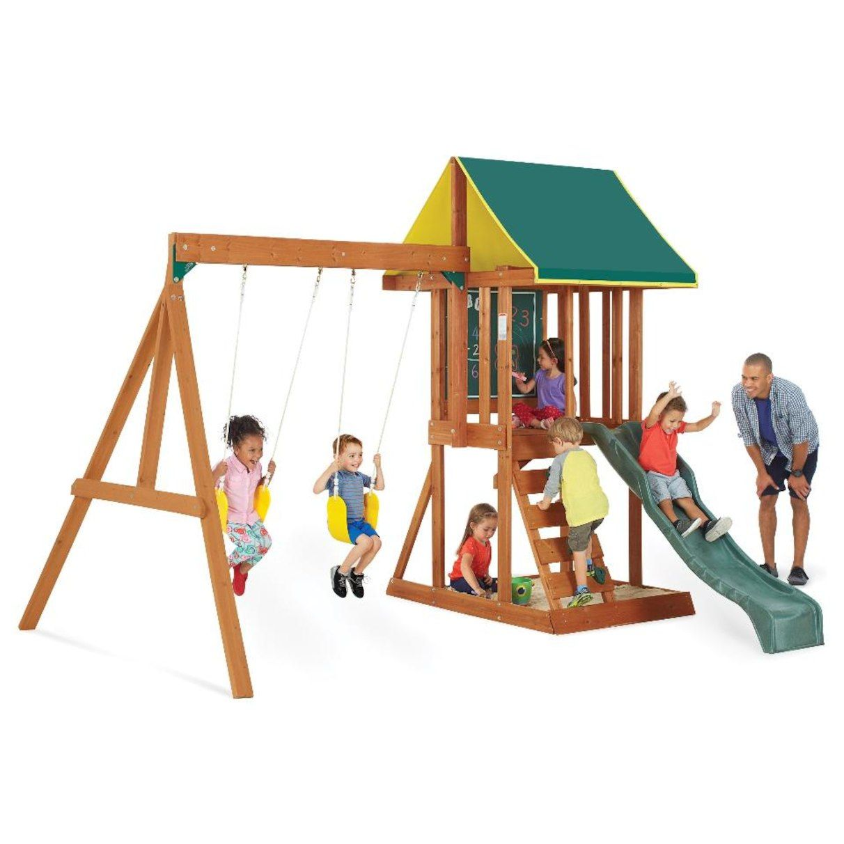 351 Big Backyard Appleton Wood Swing Set From Toys R Us Backyard Swing Sets Wooden Swing Set Backyard Swings