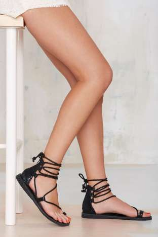JJ - Jeffrey Campbell Adios Lace-Up Leather Sandal | Shop Shoes at Nasty Gal!