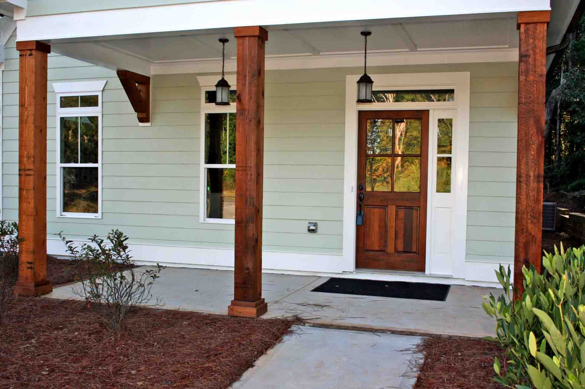 I love the dark stained posts  door and corbels   Simple and large front  porchWelcome   New Post has been published on Kalkunta com    decks  . Front Porch Columns Images. Home Design Ideas