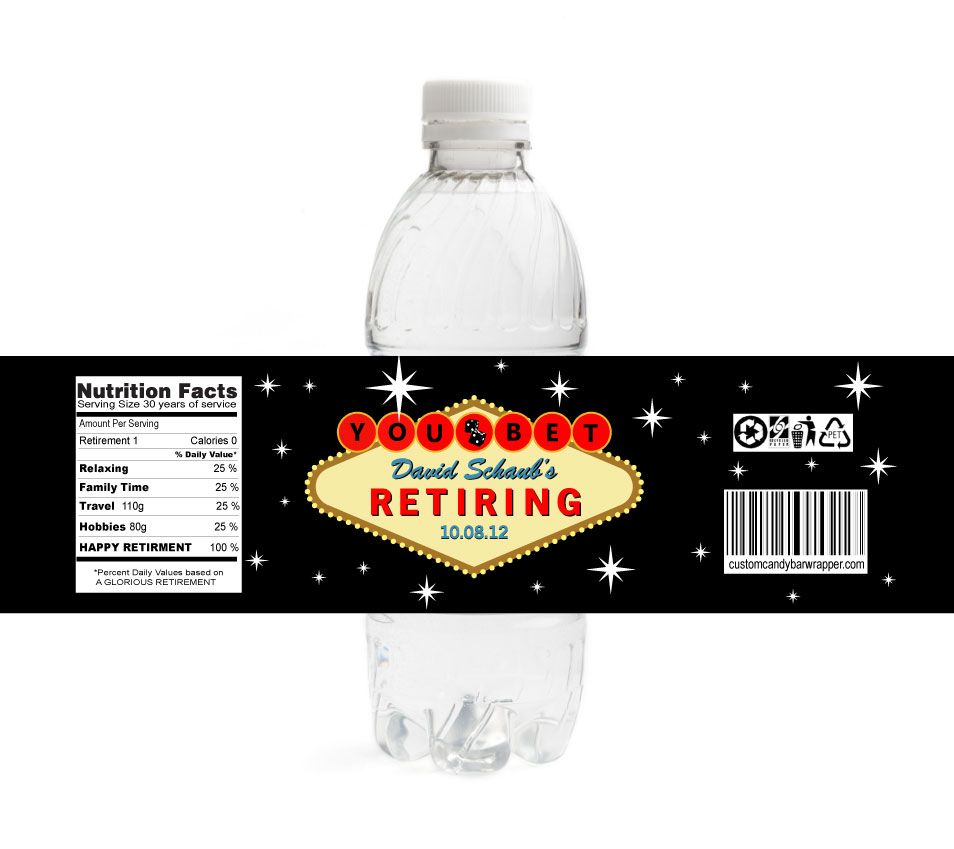 Las Vegas Retirement Water Bottle Labels