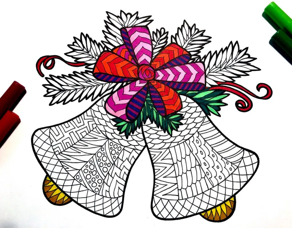 Christmas Bells and Holly PDF Zentangle Coloring Page