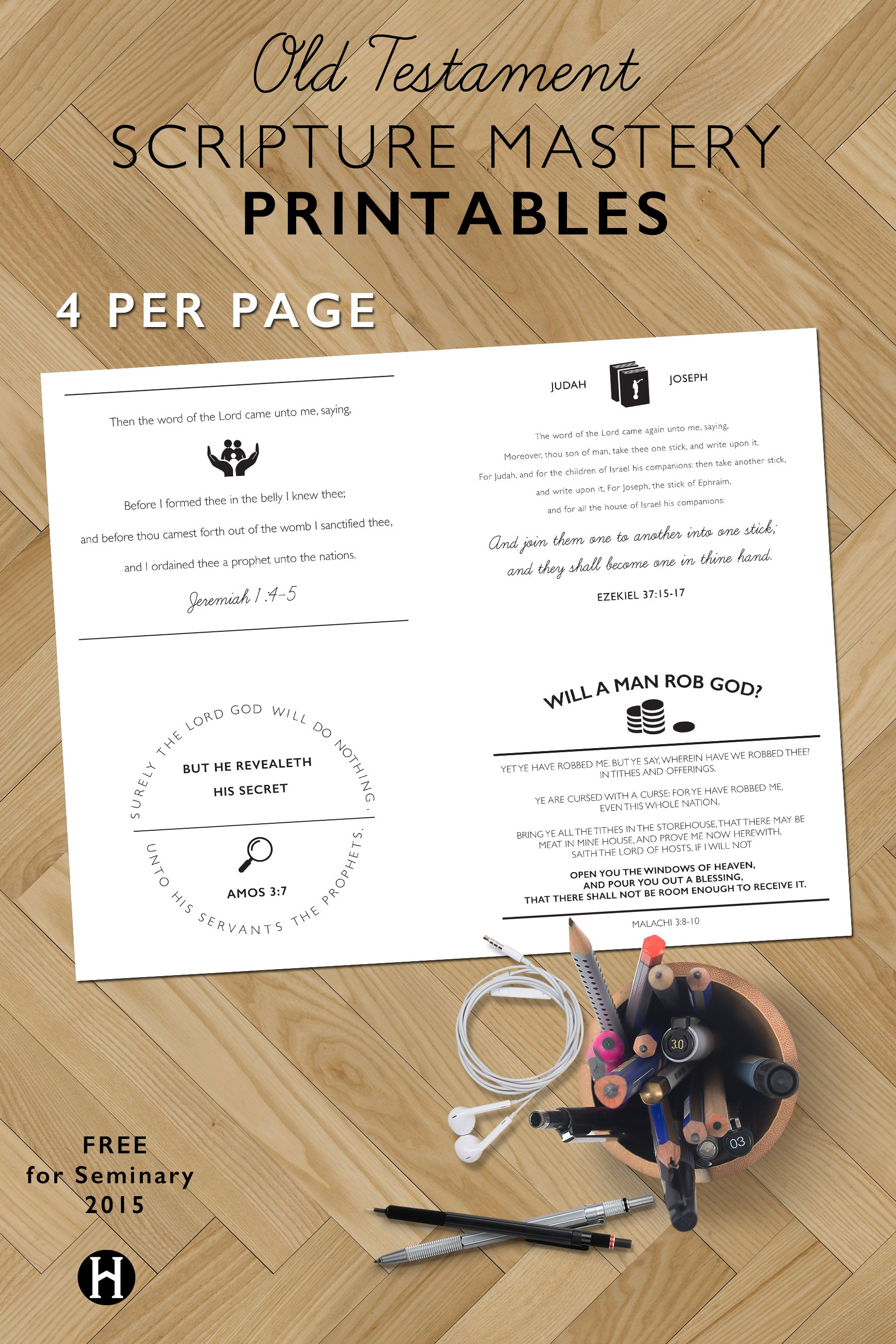 Old Testament Scripture Mastery Printables 4 Per Page