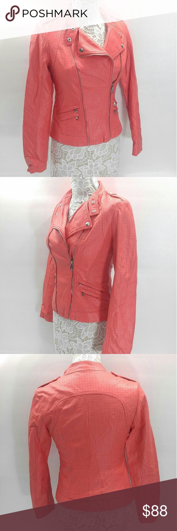 Guess Faux Leather Biker Jacket Gr661224 Coral Leather Jacket Clothes Design Fashion [ 1740 x 580 Pixel ]