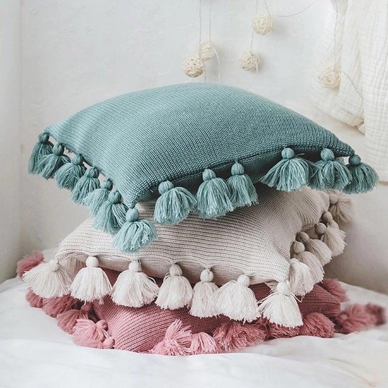 tassel pillow case green pillow cover