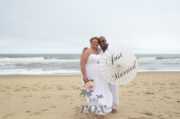 Just Married Wedding Parasol Umbrella On The Beach In Ocean City MD