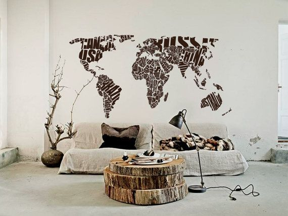 Pin by on simple serene pinterest house etsy 11 feet w outline countries map decal by worldmaps gumiabroncs Image collections