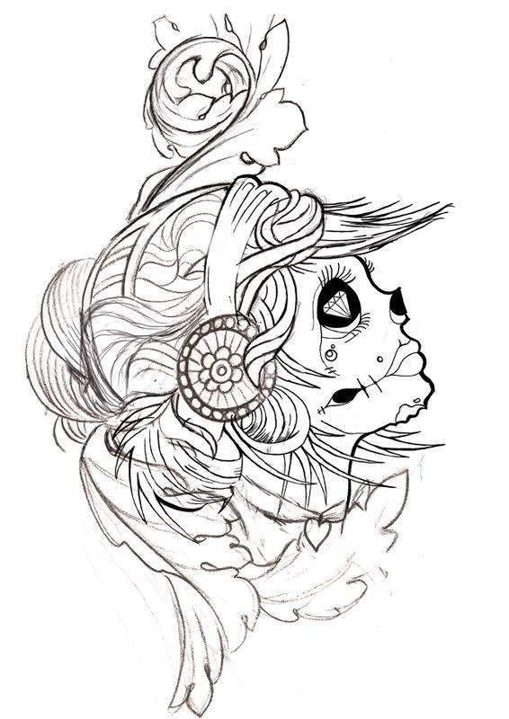 another  skull tattoo design sugar skull drawing skull