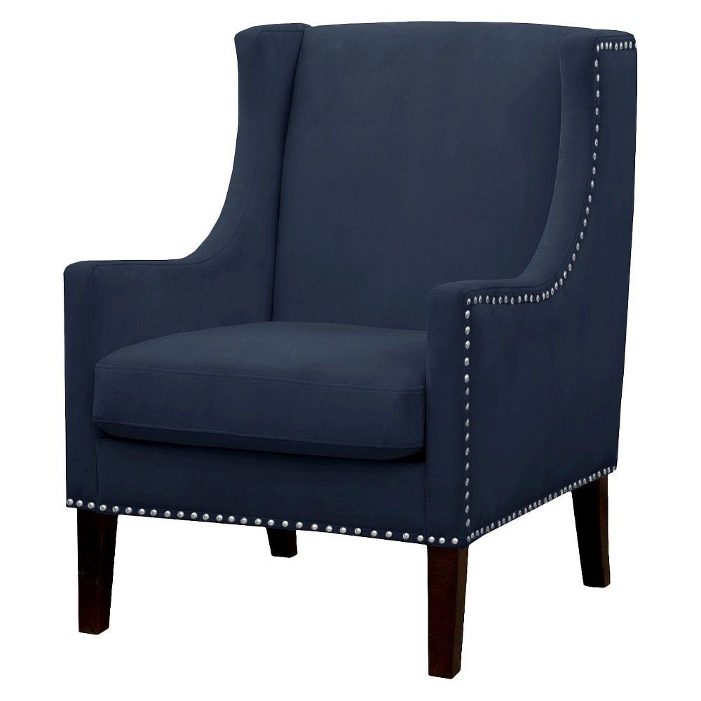 Best Jackson Wingback Chair Threshold Velvet Navy Blue 400 x 300