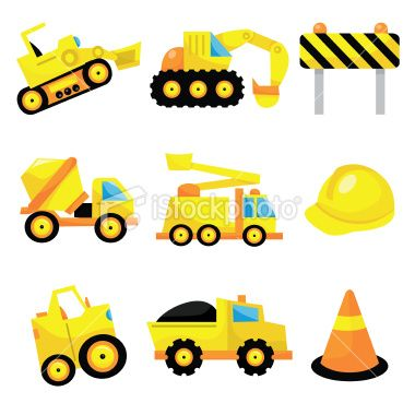 A vector illustration set of cute construction icons like dumper ...