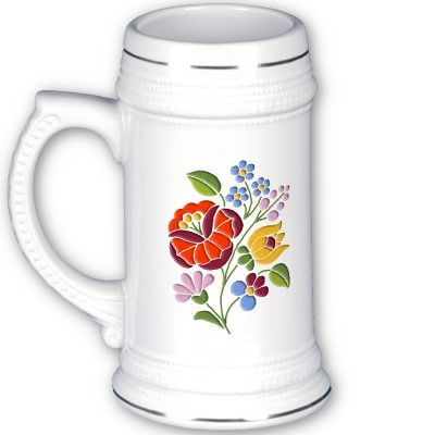 Kalocsai (traditional Hungarian folk art embroidery) on stein $23.30 #Hungary #Kalocsai #beer #flowers