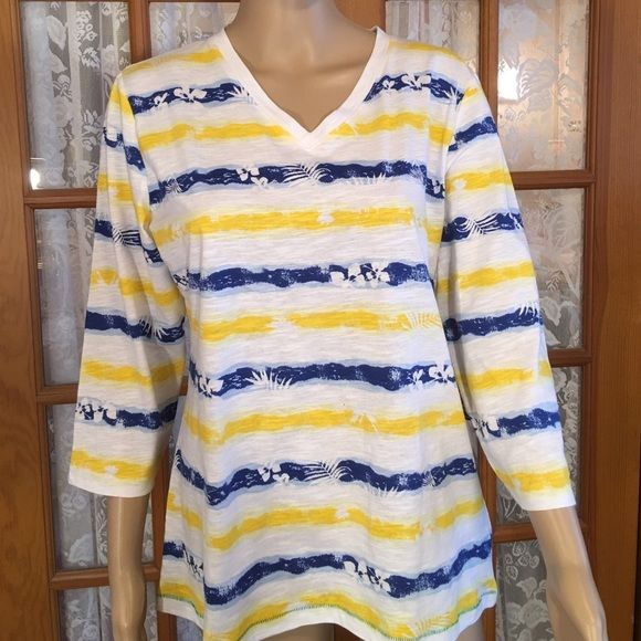 """Just InBrand New Pretty, Bright V-Neck 100% light weight cotton. Bust is 40"""". Length is 25"""". 3/4 length sleeves. There is a small dot on the front but it came that way. It is in the fabric. Look at the pictures. Non smoking home Palm Harbour Tops"""
