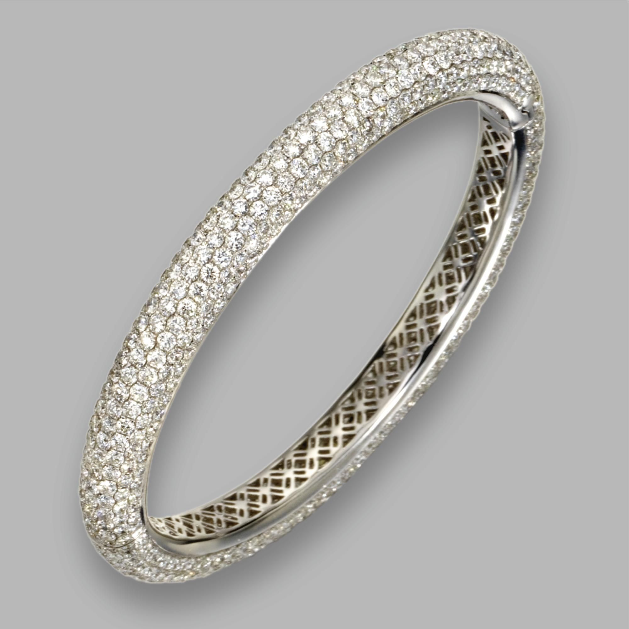 enlarged bangles bracelets diamond bangle jewelry parentesi the products stackable bvlgari