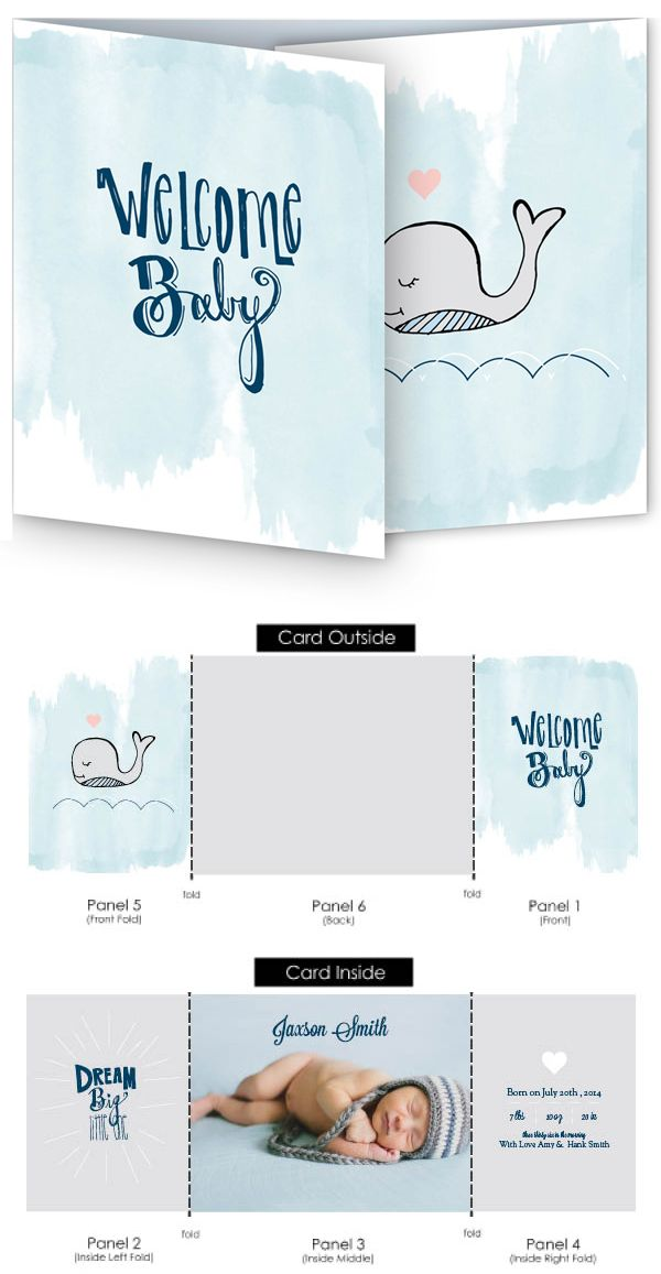 The watercolor whale is a cute trifold birth announcement that – Tri Fold Birth Announcement