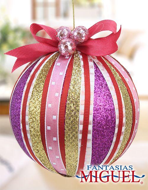Esfera rosa list n navidad 2014 adorno decoraci n - Adornos de navidad 2014 ...