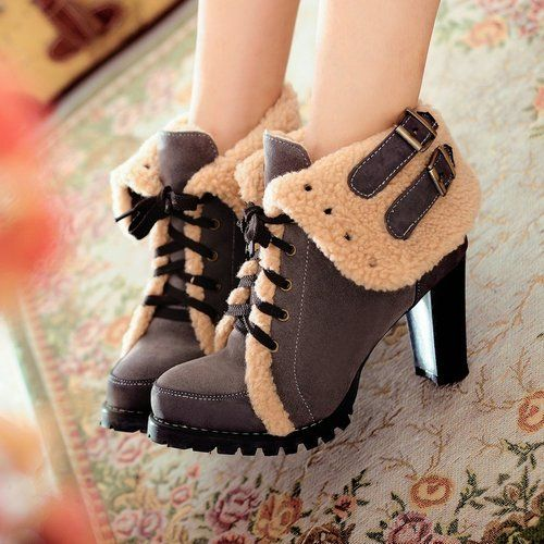 The new thick heeled shoes high heels warm boots for women platform pumps leather leopard shoes watch-in Boots from Shoes on Aliexpress.com