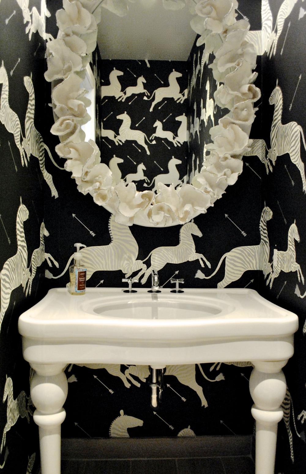 scalamandre zebra wallpaper - Google Search   Powder room ...