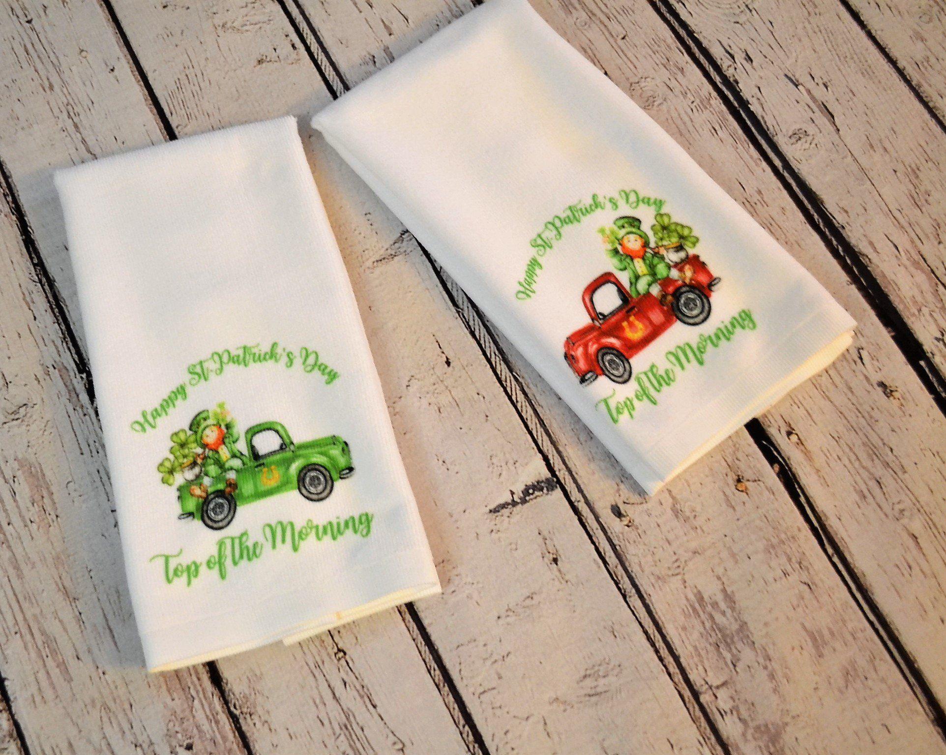 St Patrick S Day Leprechaun Kitchen Hand Towel Trendy Truck