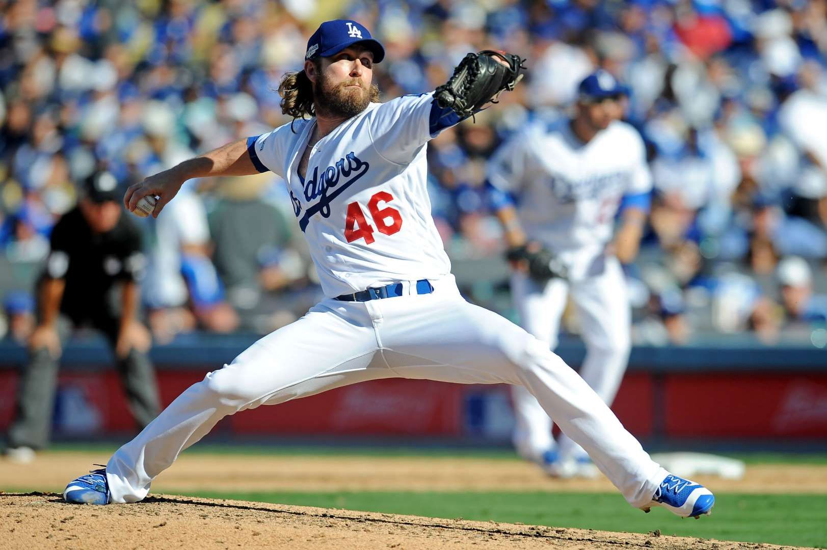 In Relief Dodgers Relief Pitcher Josh Fields Pitches During The Sixth Inning Against The Nationals In Game 3 Of The Nlds Mlb Mlb The Show Usa Today Sports