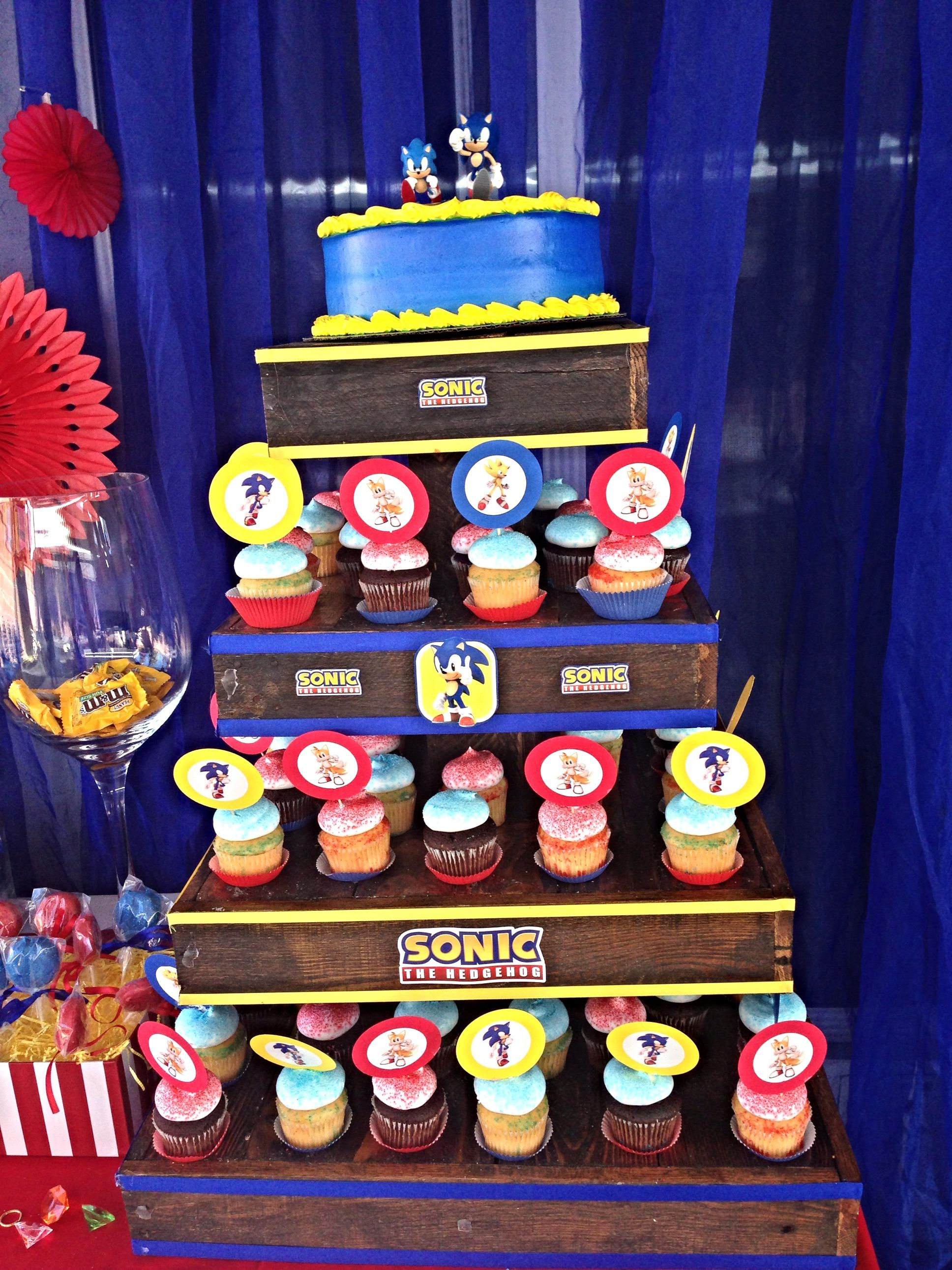 Sonic The Hedgehog Birthday Party Cupcake Tower