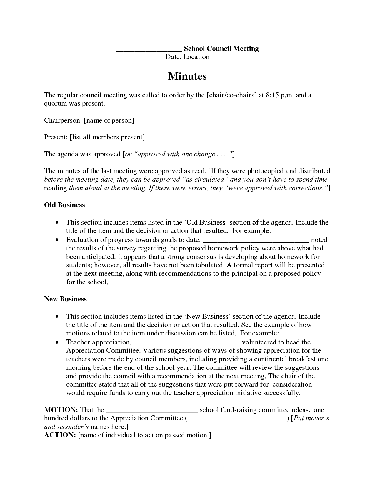 Minutes Of The Meeting Format For School