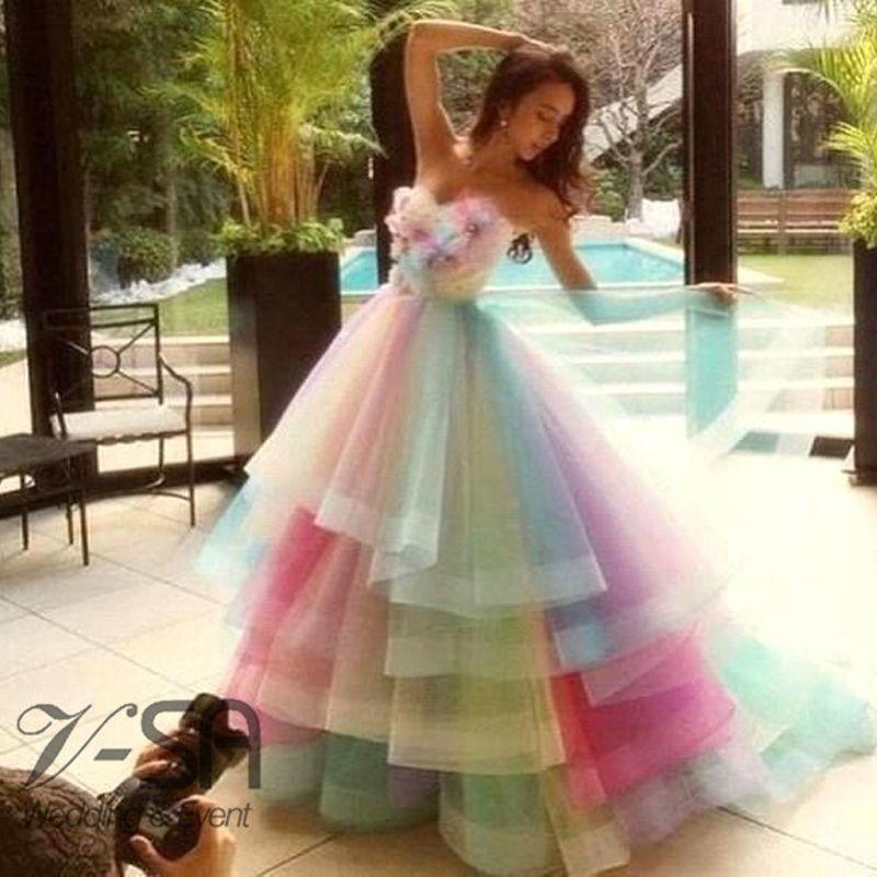 Real Image Amazing Rainbow Wedding Dresses 2016 Colorful Handmade ...