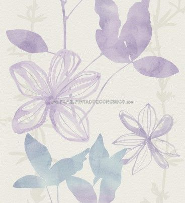 papel pintado rasch 451351 flower poetry papel para pared con jazmines morados y