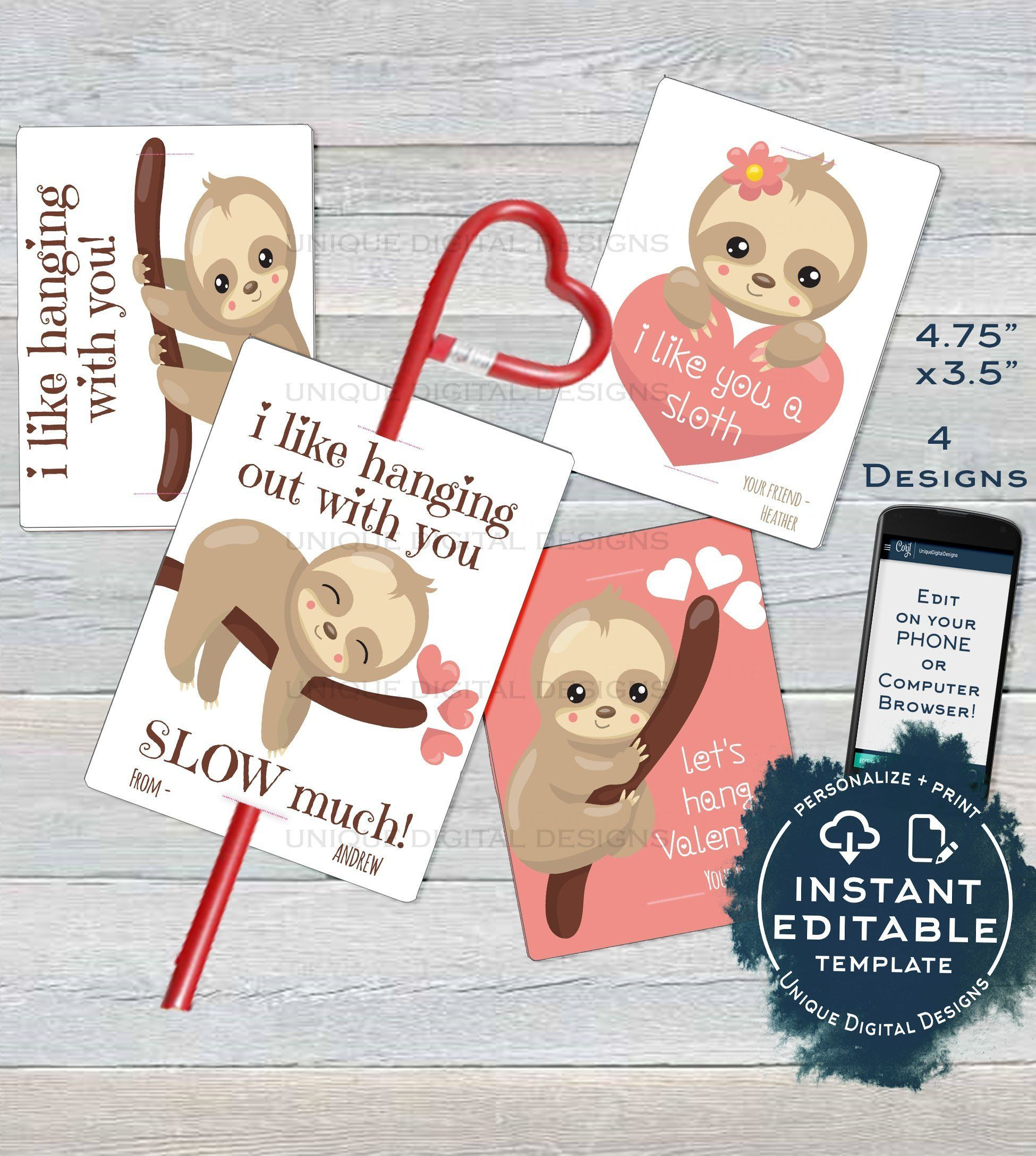 SLOTH VALENTINE CARD KIDS EDITABLE VALENTINES DAY SLOTH CLASSROOM I LIKE YOU A SLOTH FAVOR TAGS Happy Valentines Day Save you and your kids time from writing their names...