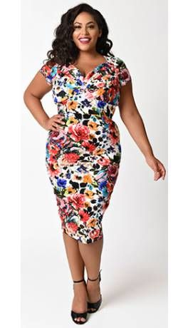 Unique Vintage Plus Size 1950s Bright Blossoming Floral St Pierre