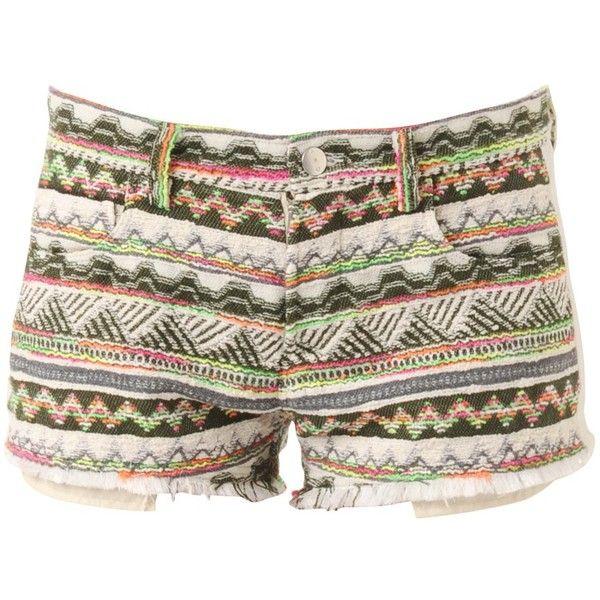 Lofina Short - Short en jacquard multicolore - Kaki - Shorts - Women -... ($205) ❤ liked on Polyvore featuring shorts, bottoms, pants, short, short shorts, jacquard shorts, colorful shorts and multi colored shorts