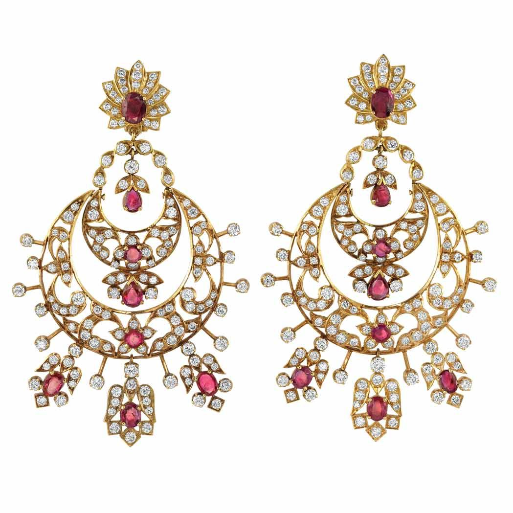 Pair of gold diamond and ruby pendantearclips jewels pinterest
