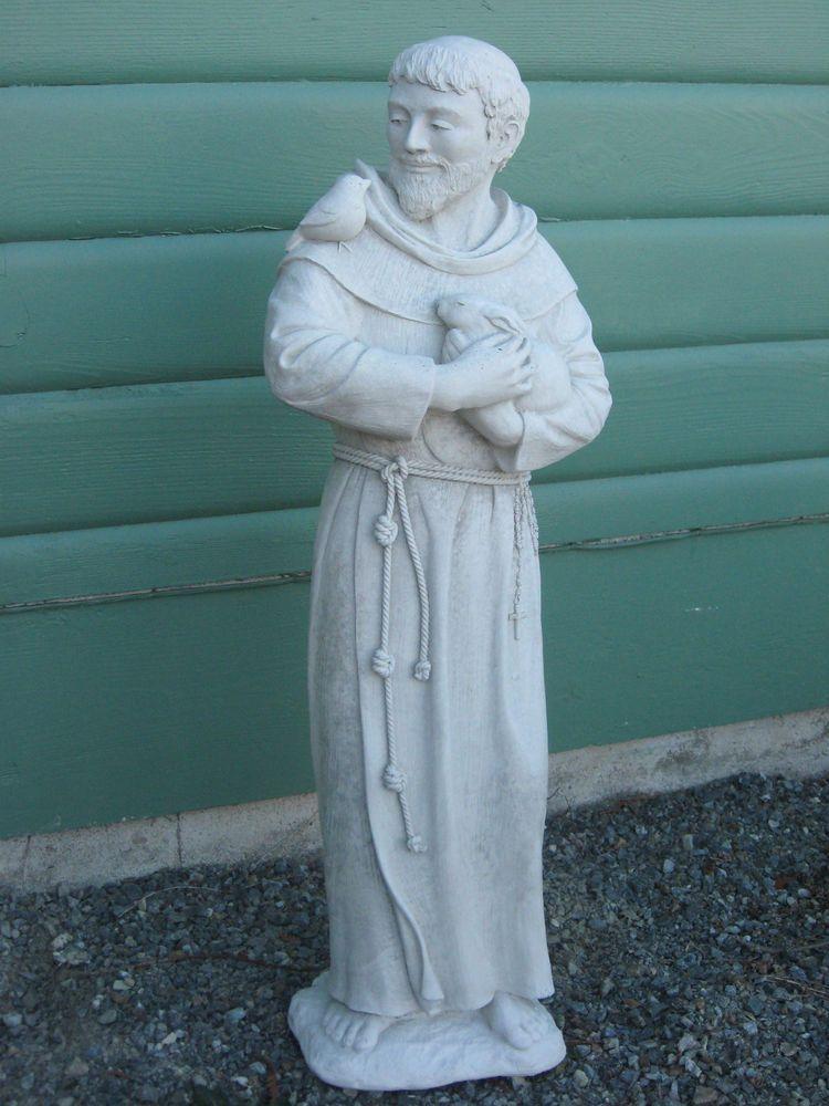 St Francis Of Assisi 32 Outdoor Cement Statue Catholic Saint Bird Rabbit New Catholic