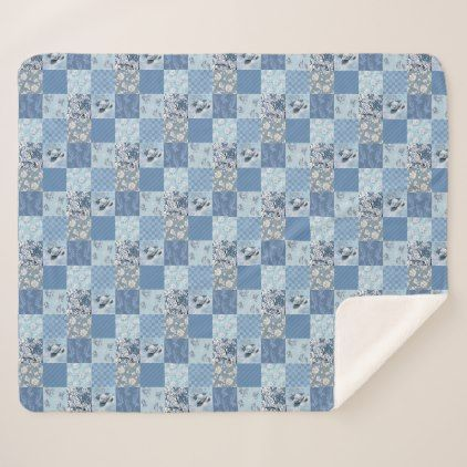 #Blue Floral Patchwork Medium Sherpa Fleece Blanket - #floral #gifts #flower #flowers