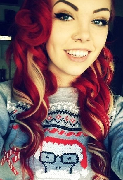 Bright red with blonde! LOVE THIS VIBRANT RED | Red blonde