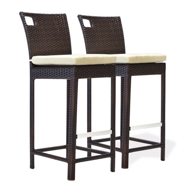 Bienal 30 Inch Sydney Outdoor Wicker Bar Stool With Cushion Set Of