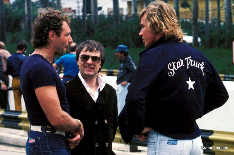 James Hunt with Jochen Mass and Bernie Ecclestone during the 1977 Brazilian Grand Prix weekend at Interlagos